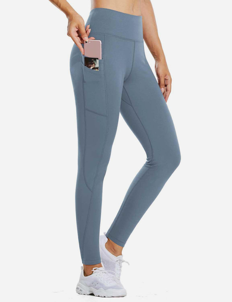 "Baleaf Womens 28"" Fleece Lined High Rise Tummy Control Pocketed Workout Leggings Niagara Front"