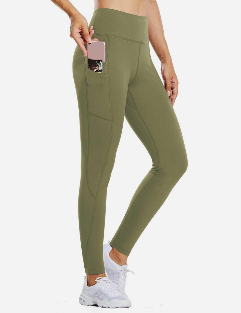 "Baleaf Womens 28"" Fleece Lined High Rise Tummy Control Pocketed Workout Leggings Olive Green full"