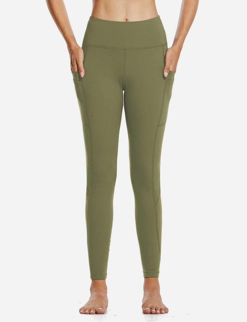 "Baleaf Womens 28"" Fleece Lined High Rise Tummy Control Pocketed Workout Leggings Olive Green front"