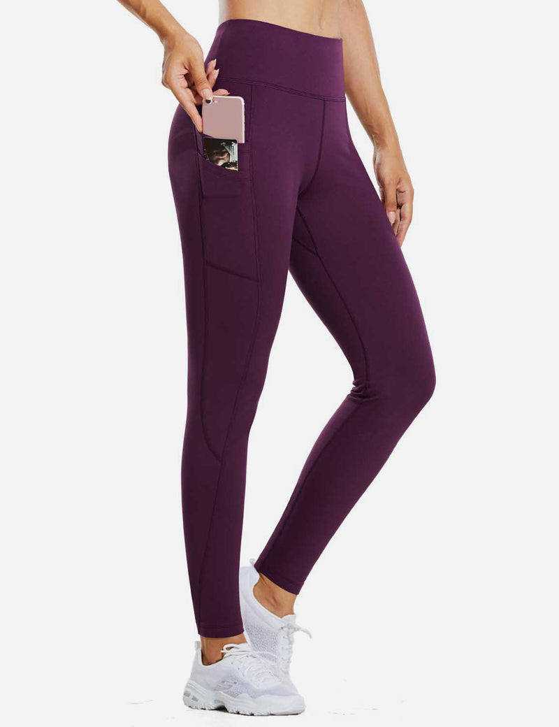 "Baleaf Womens 28"" Fleece Lined High Rise Tummy Control Pocketed Workout Leggings Paisley Purple side"