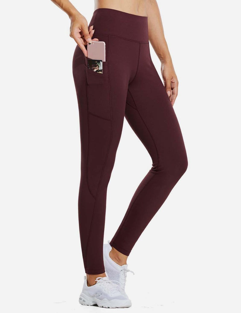 "Baleaf Womens 28"" Fleece Lined High Rise Tummy Control Pocketed Workout Leggings Red Wine Side"