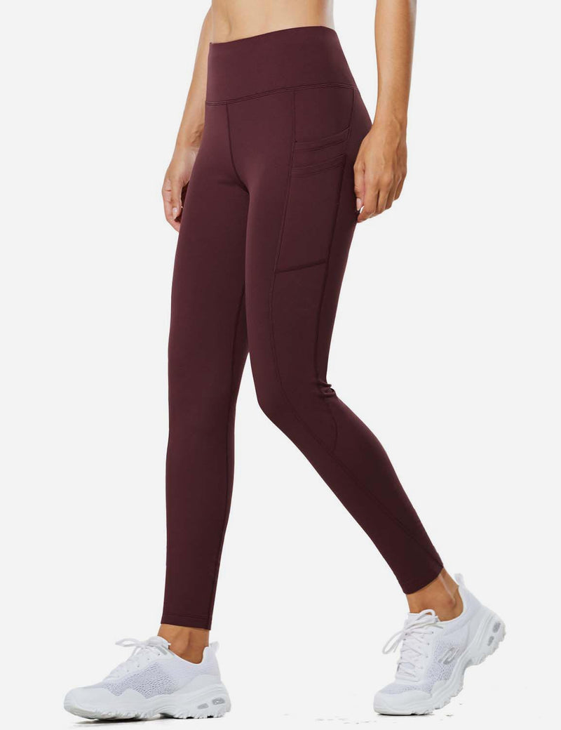 "Baleaf Womens 28"" Fleece Lined High Rise Tummy Control Pocketed Workout Leggings Red Wine Front"