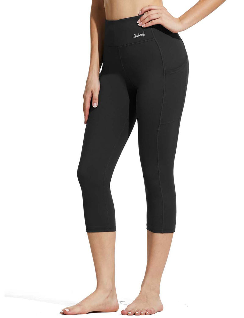 Baleaf Womens High Rise Double Brushed Pocketed Workout Capris Black Side