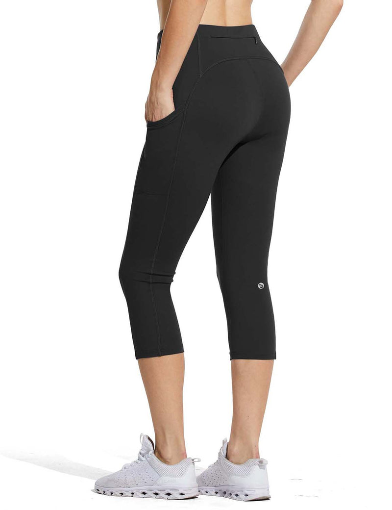 Baleaf Womens High Rise Double Brushed Pocketed Workout Capris Black Back