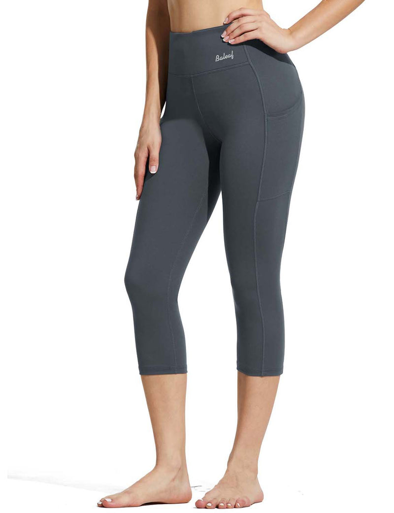 Baleaf Womens High Rise Double Brushed Pocketed Workout Capris Gray Side