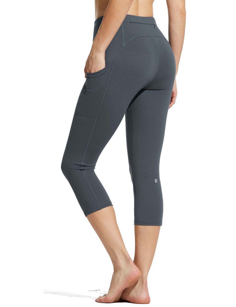 Baleaf Womens High Rise Double Brushed Pocketed Workout Capris Gray Back