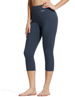 Baleaf Womens High Rise Double Brushed Pocketed Workout Capris Navy Side