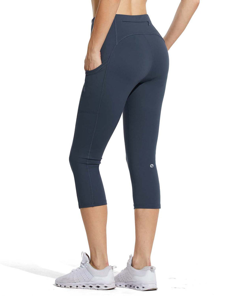 Baleaf Womens High Rise Double Brushed Pocketed Workout Capris Navy Back
