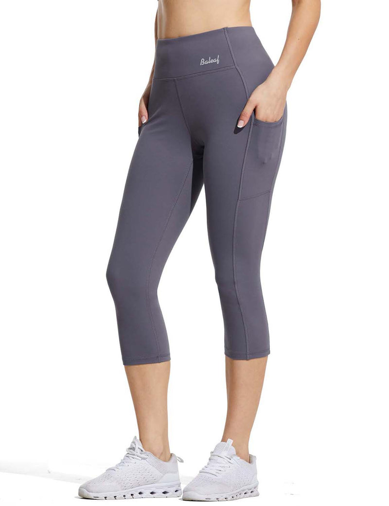 Baleaf Womens High Rise Double Brushed Pocketed Workout Capris Purple Side