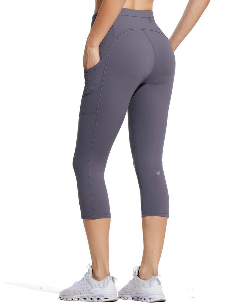 Baleaf Womens High Rise Double Brushed Pocketed Workout Capris Purple Back
