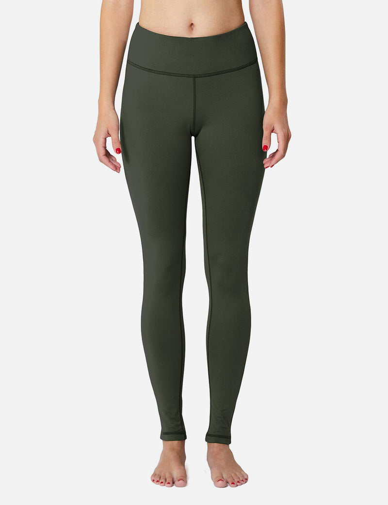 Baleaf Sports High-Rise Fleece Lined Leggings army green front