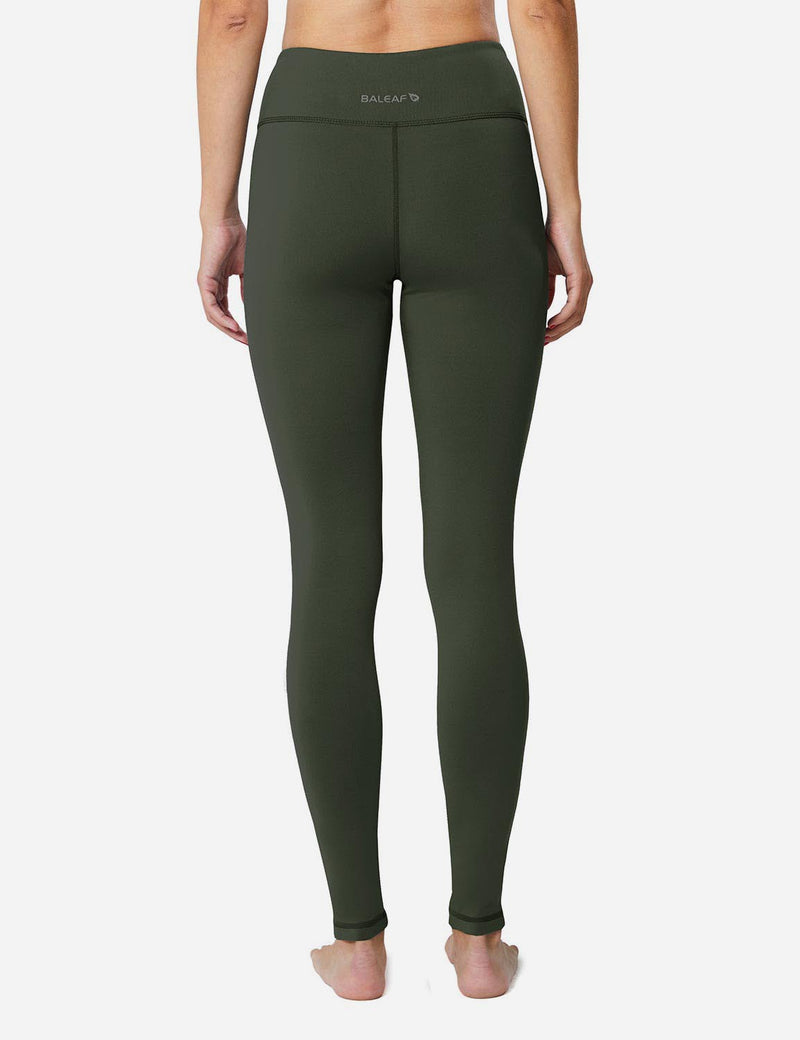 Baleaf Sports High-Rise Fleece Lined Leggings army green back