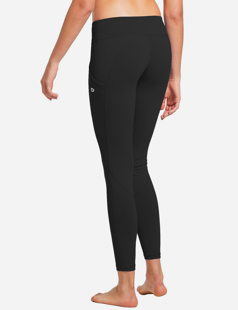 Baleaf Womens Basic Quick-Dry Shapewear Side Pocketed Leggings Black back