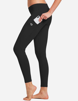Baleaf Womens Basic Quick-Dry Shapewear Side Pocketed Leggings Black side