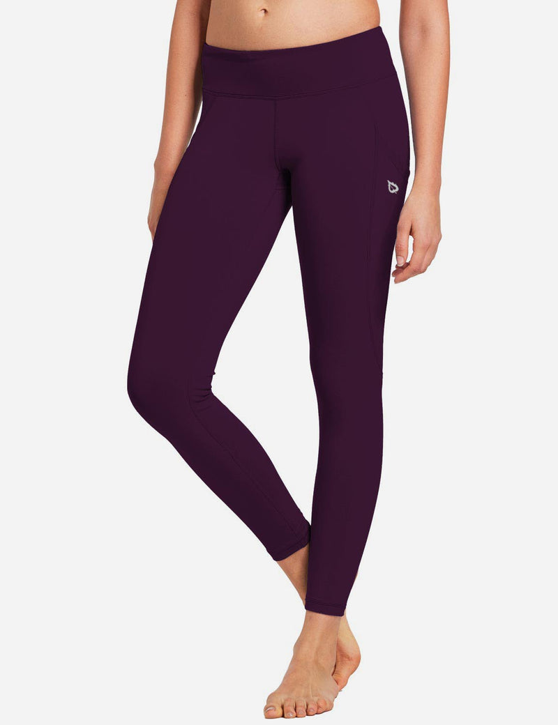 Baleaf Womens Basic Quick-Dry Shapewear Side Pocketed Leggings Dark Magenta front