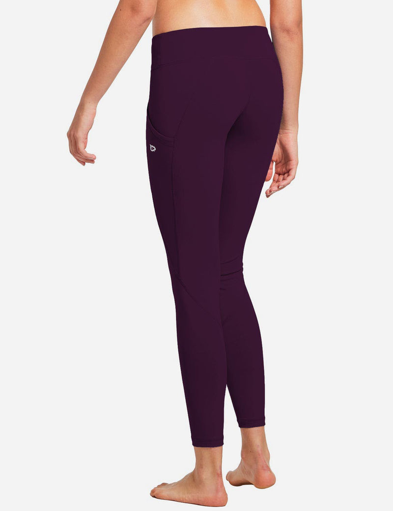 Baleaf Womens Basic Quick-Dry Shapewear Side Pocketed Leggings Dark Magenta back