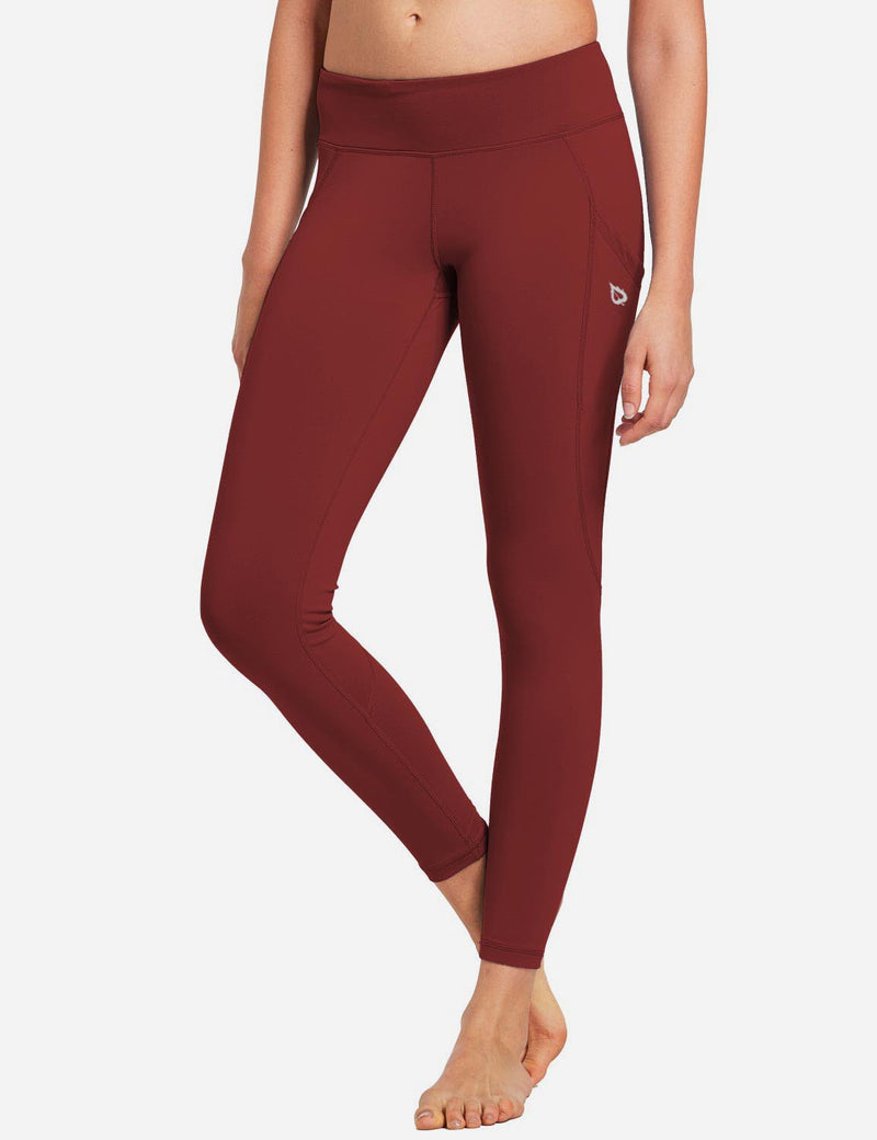 Baleaf Womens Basic Quick-Dry Shapewear Side Pocketed Leggings Ruby Wine front