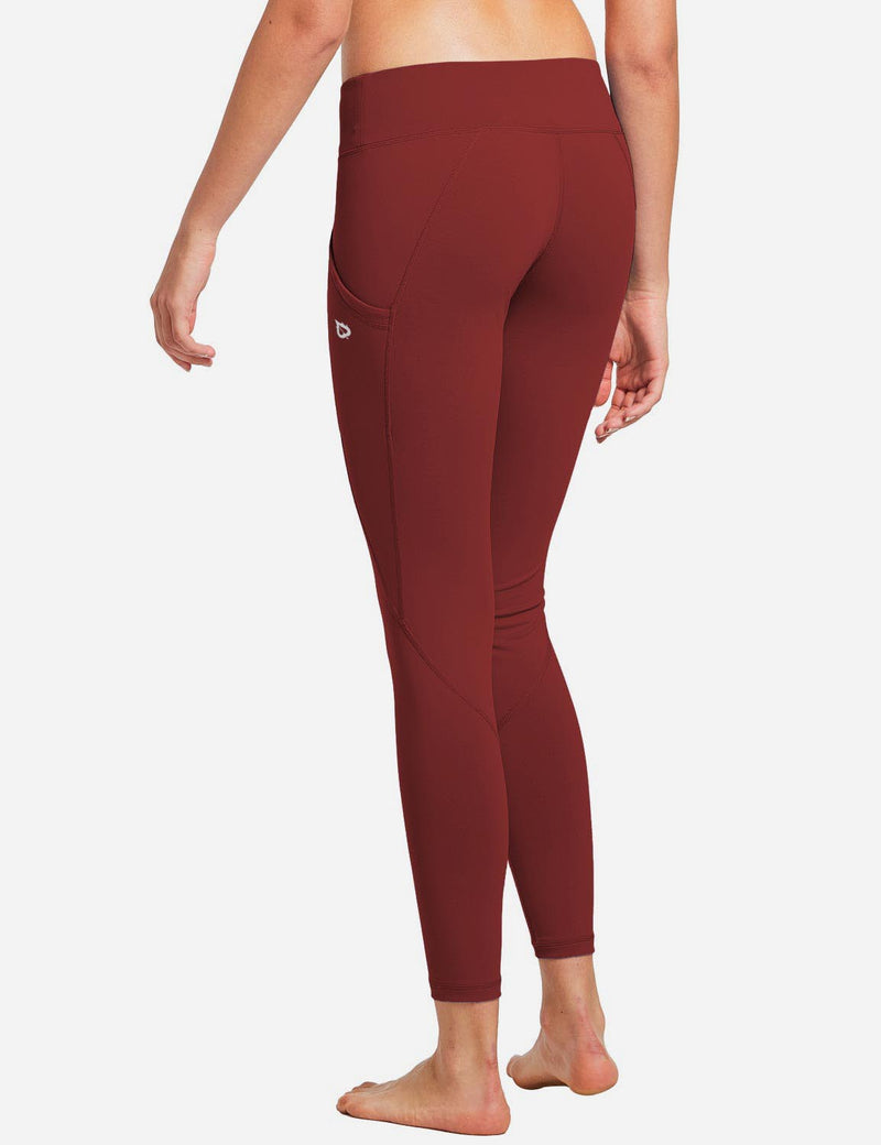 Baleaf Womens Basic Quick-Dry Shapewear Side Pocketed Leggings Ruby Wine back