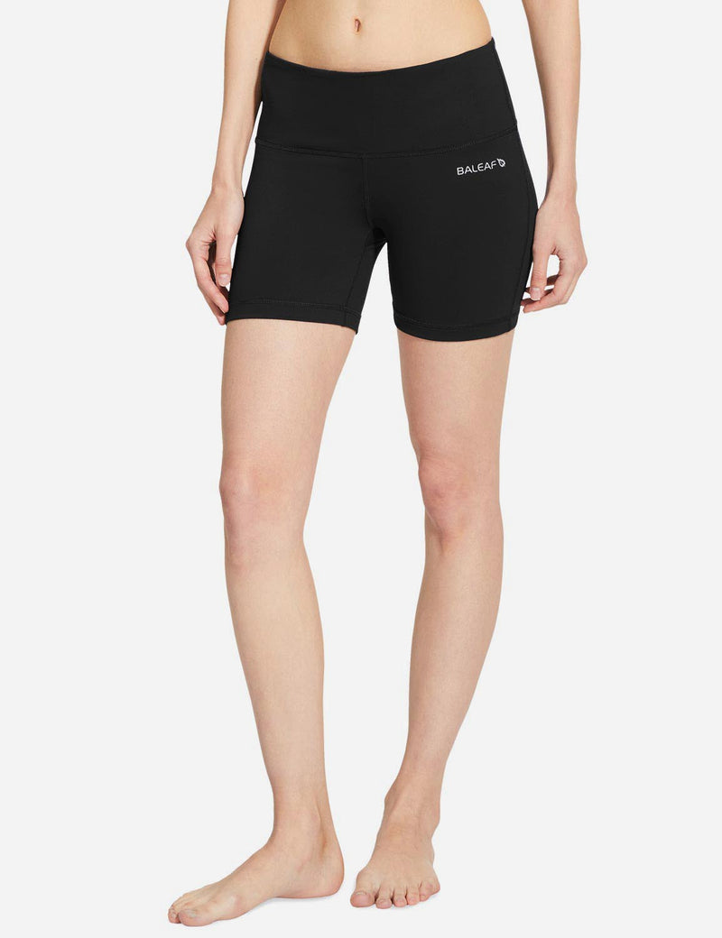 Baleaf Women 5' Wide Waistband w Hidden Pocket Shapewear Yoga Shorts black details
