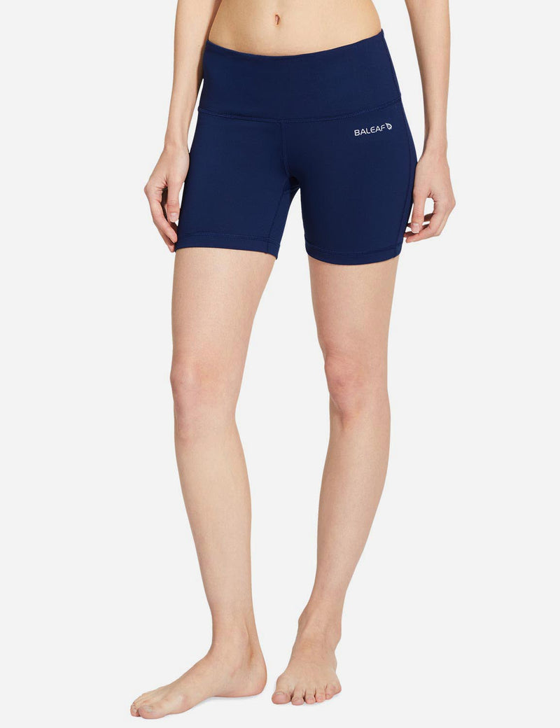 Baleaf Women 5' Wide Waistband w Hidden Pocket Shapewear Yoga Shorts navy blue details