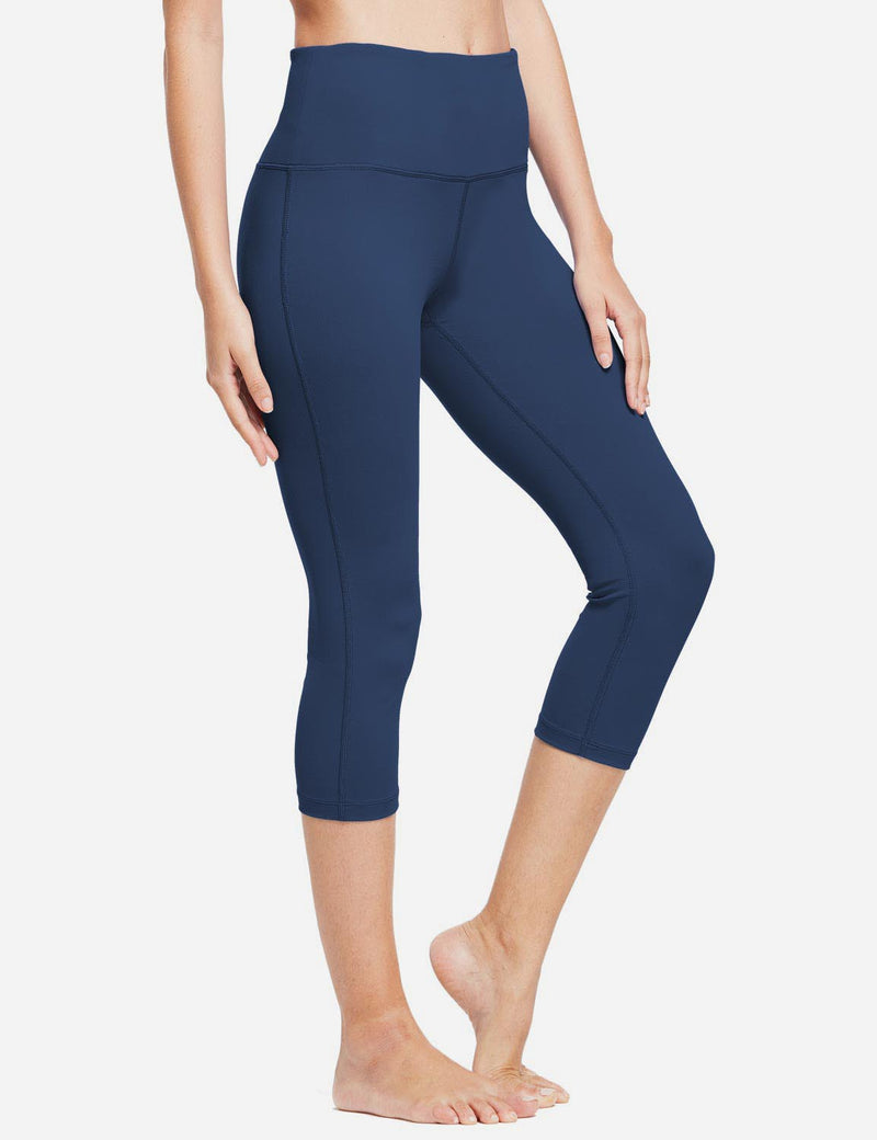 Baleaf Women High-Rise Hidden Pocket Capris Dark Blue front
