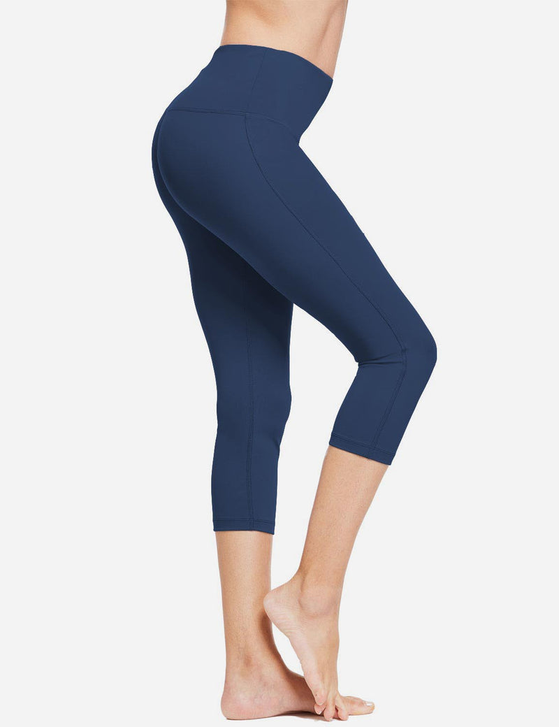 Baleaf Women High-Rise Hidden Pocket Capris Dark Blue side