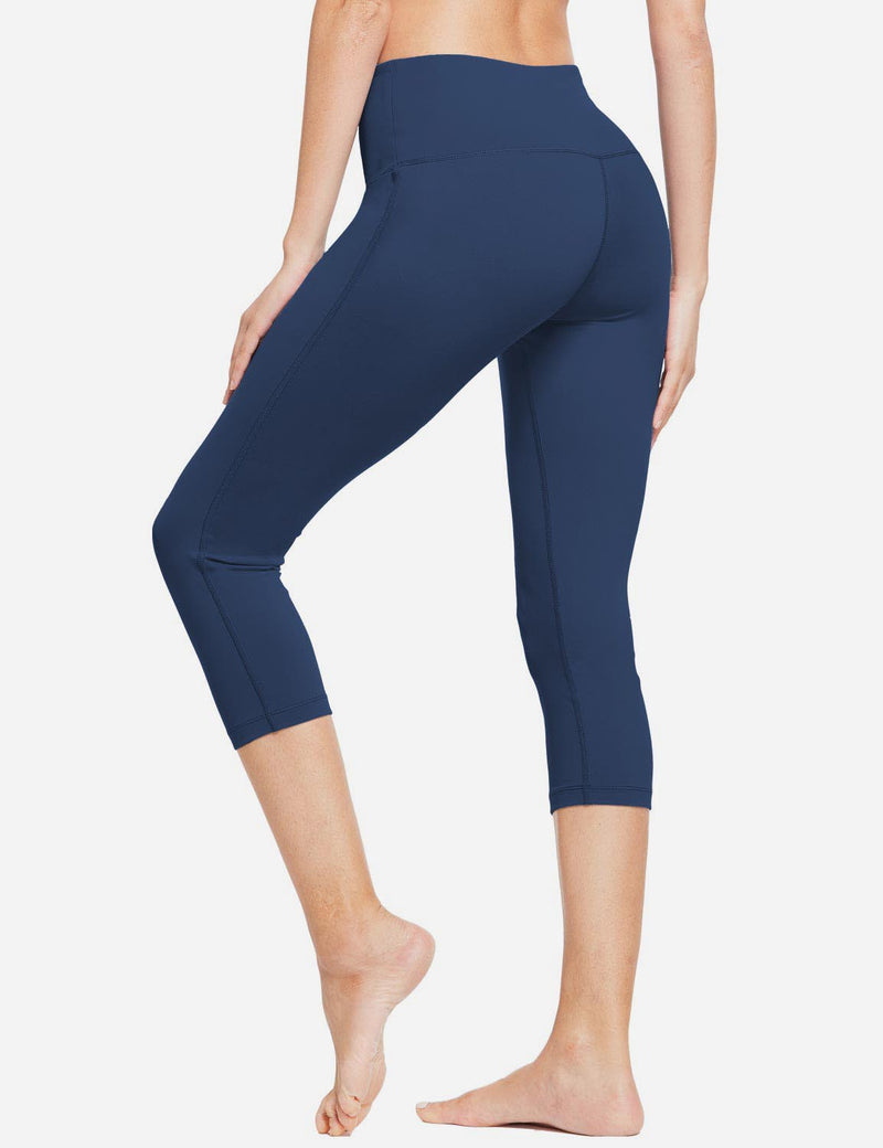 Baleaf Women High-Rise Hidden Pocket Capris Dark Blue back