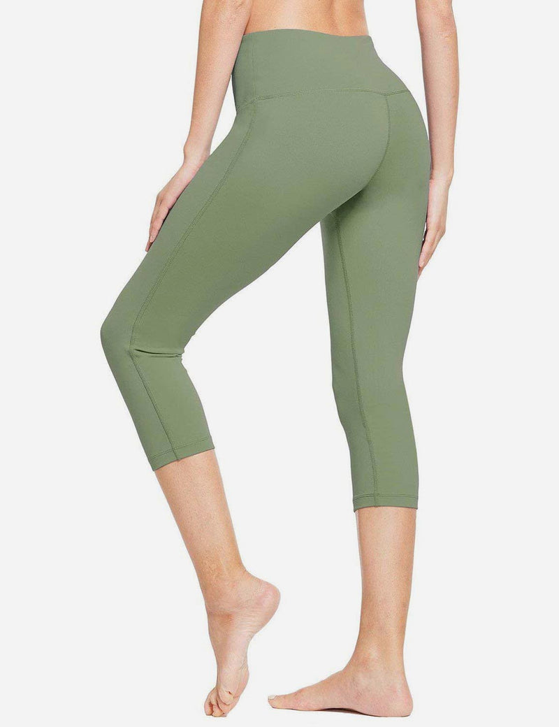 Baleaf Women High-Rise Hidden Pocket Capris Olive Green back