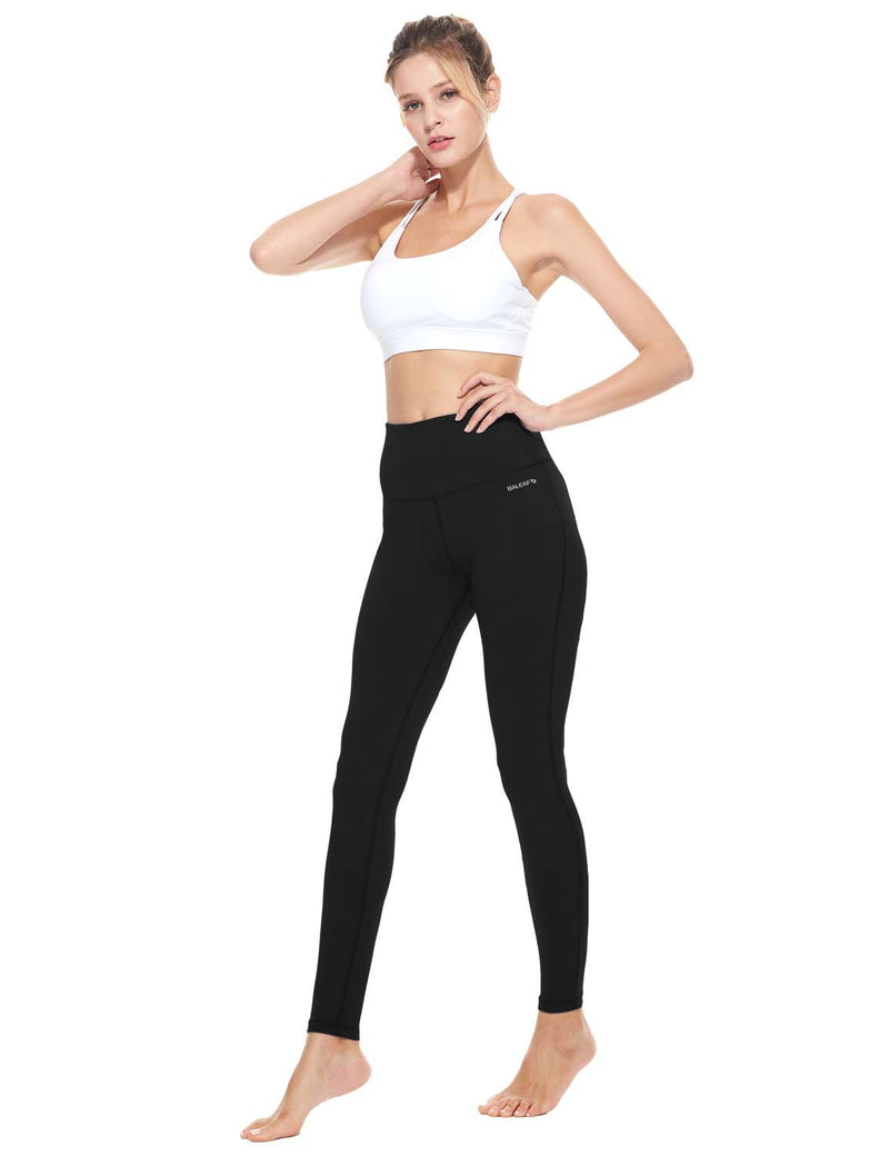 Baleaf Womens High-Rise Thick Waistband Hidden Pocket Countour Leggings Black details