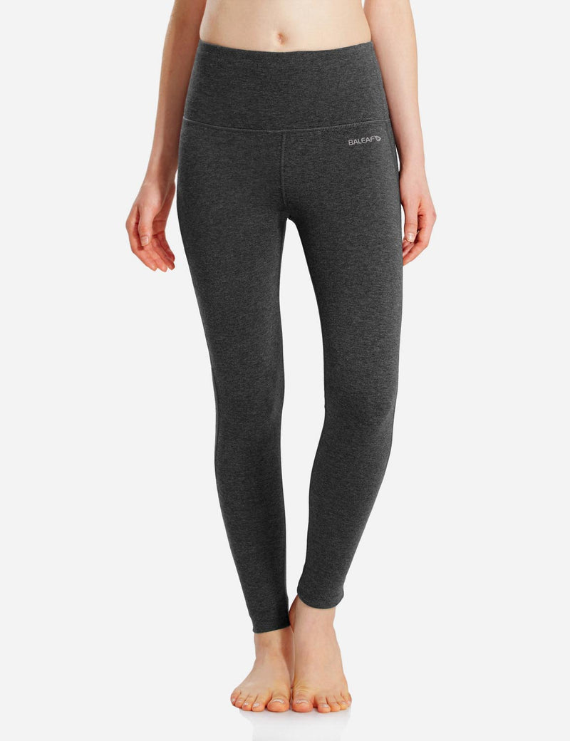Baleaf Womens High-Rise Thick Waistband Hidden Pocket Countour Leggings Charcoal details