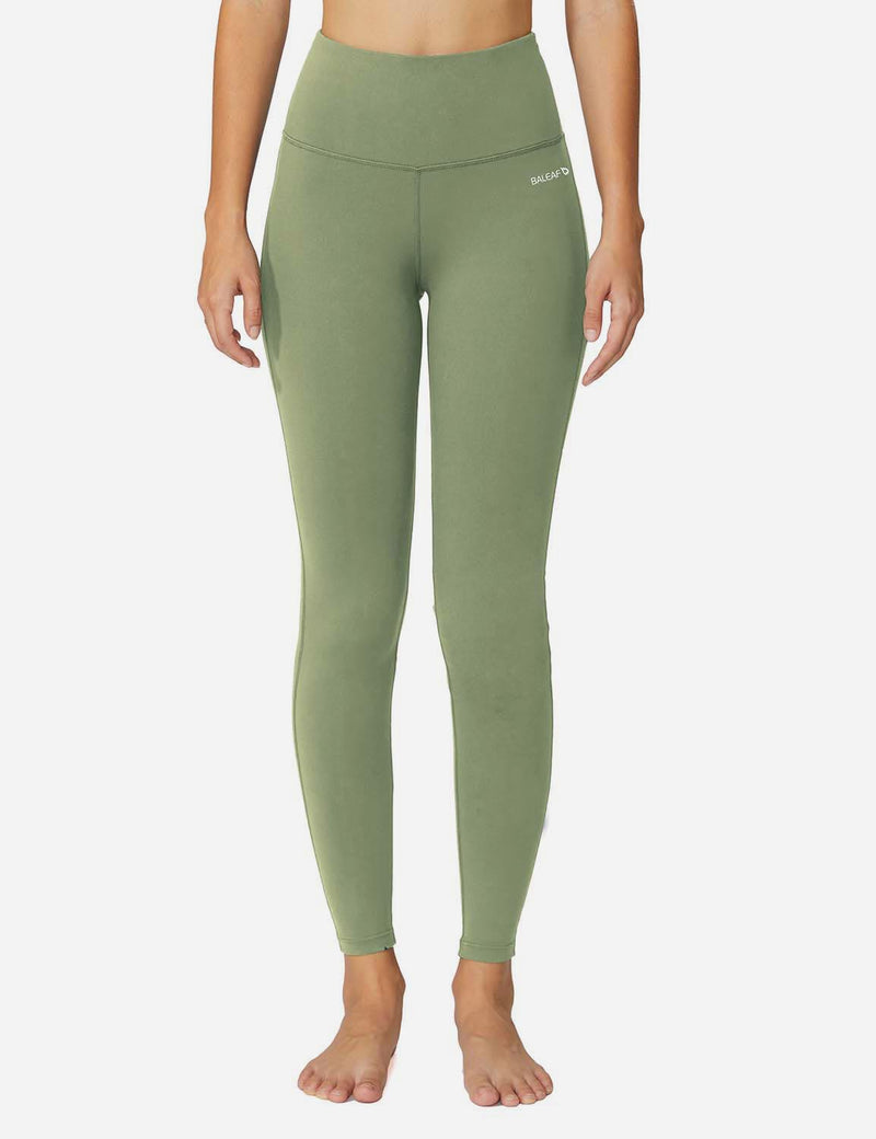 Baleaf Womens High-Rise Thick Waistband Hidden Pocket Countour Leggings Olive Green details