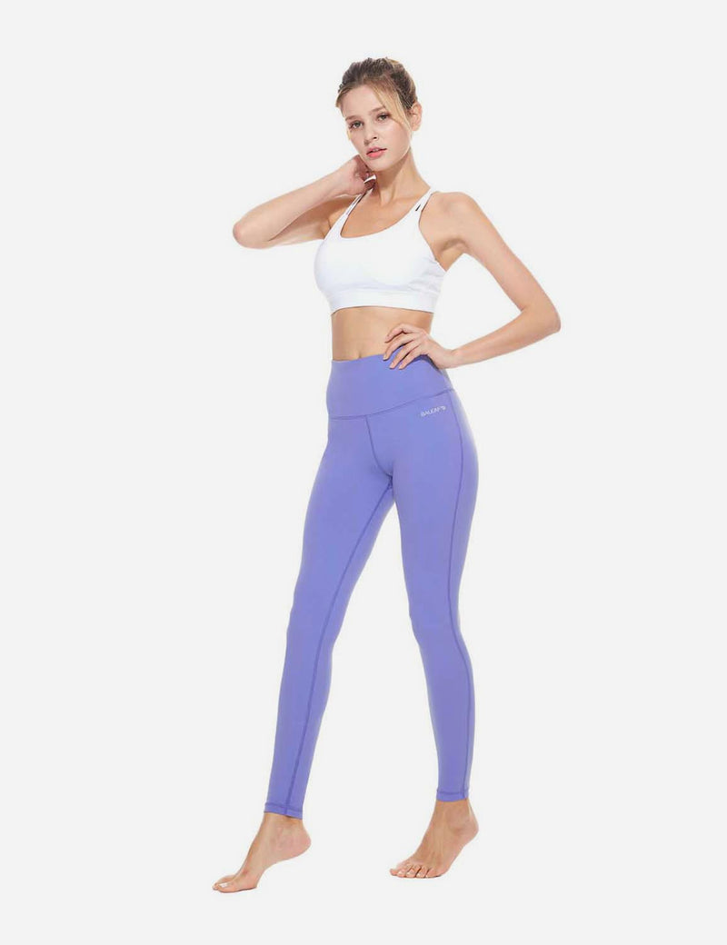 Baleaf Womens High-Rise Thick Waistband Hidden Pocket Countour Leggings Paisley Purple details