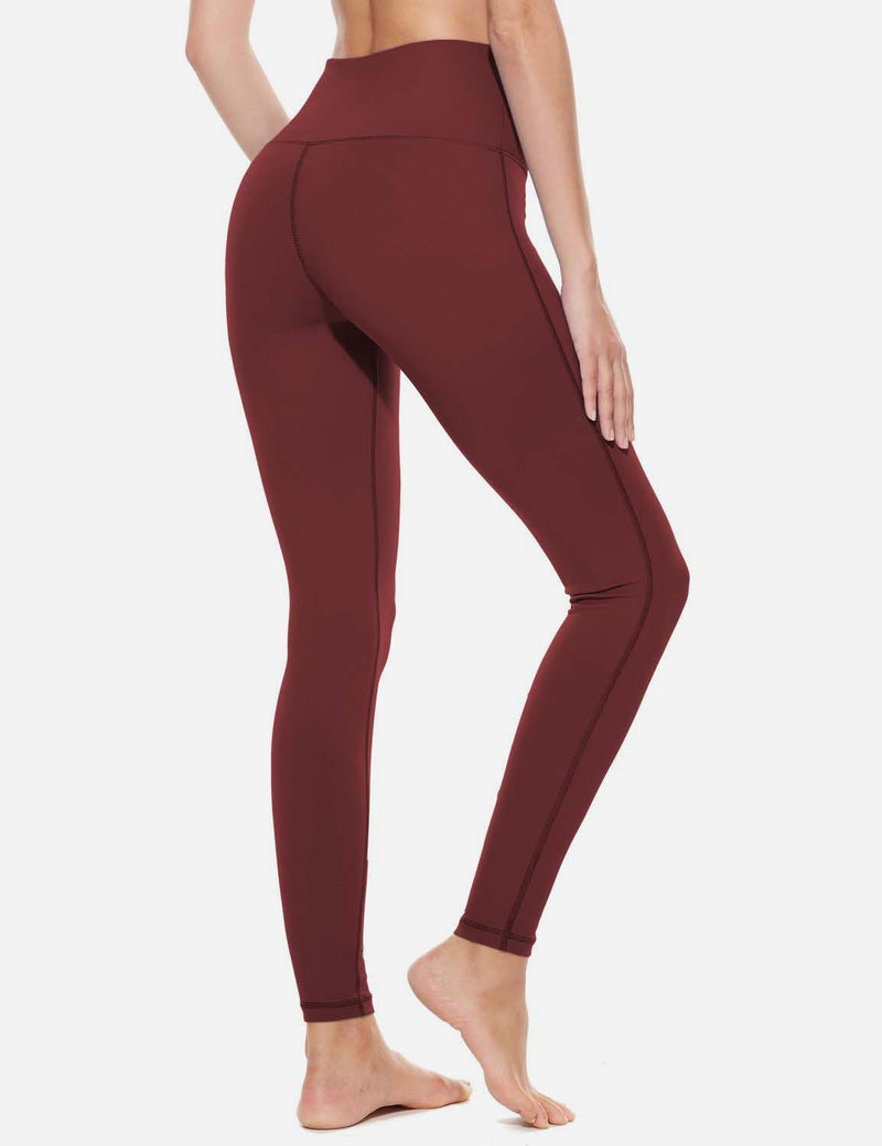 Baleaf Womens High-Rise Thick Waistband Hidden Pocket Countour Leggings Ruby Wine details