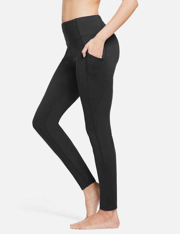 Baleaf Womens (No Fleece) High Rise Lightweight Yoga Pocketed Leggings Black side