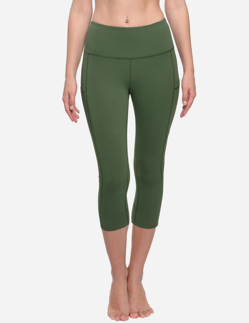 Baleaf Womens Curved Seams High-Rise Thigh & Back Pocketed Capris Army Green Side