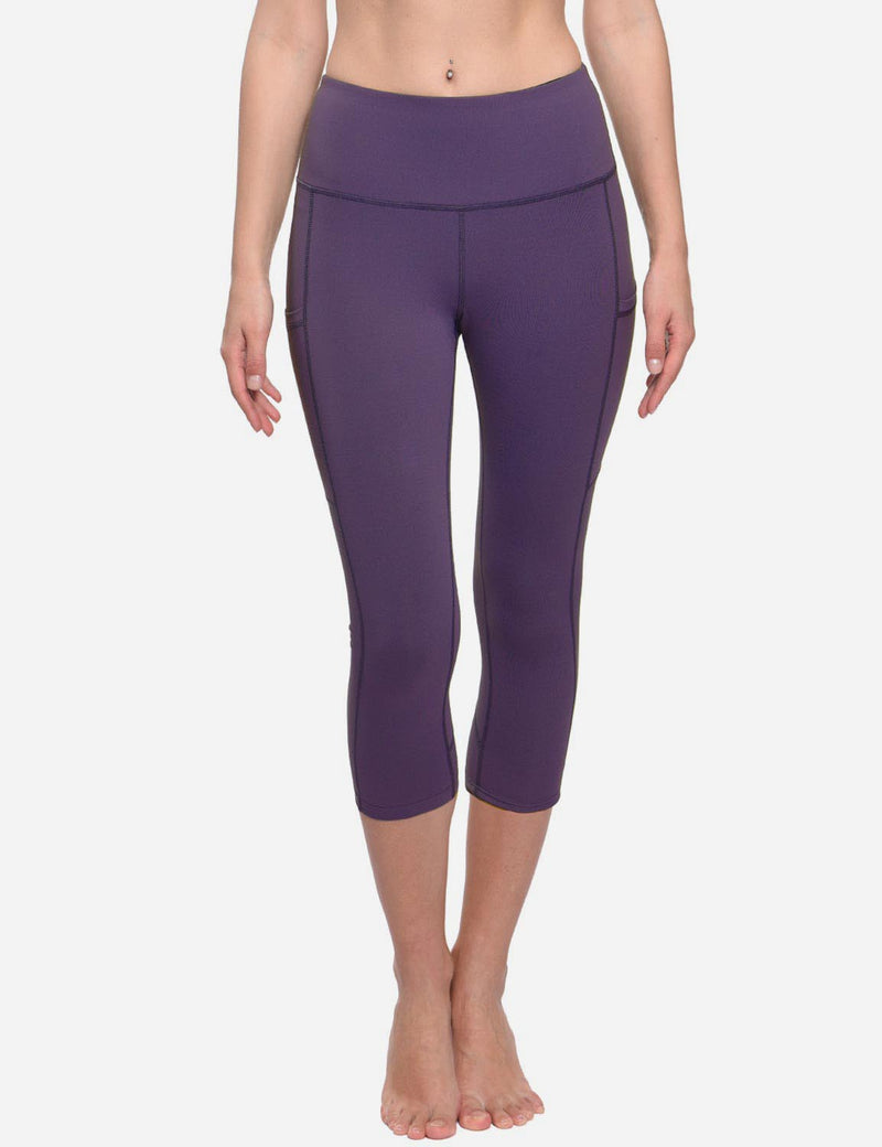 Baleaf Womens Curved Seams High-Rise Thigh & Back Pocketed Capris Purple Details