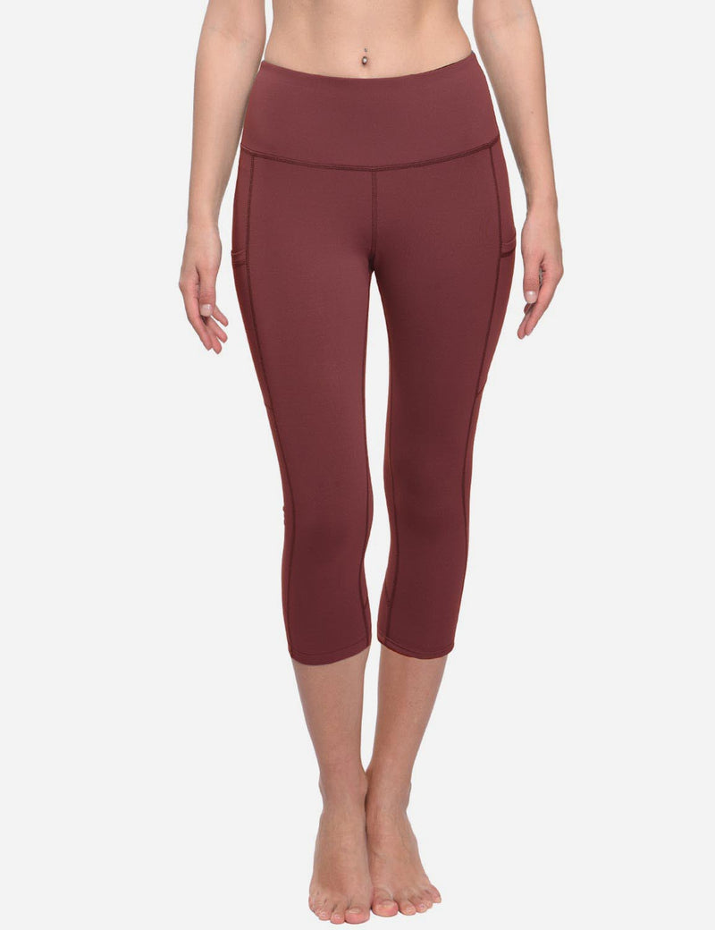 Baleaf Womens Curved Seams High-Rise Thigh & Back Pocketed Capris Wine Red Full