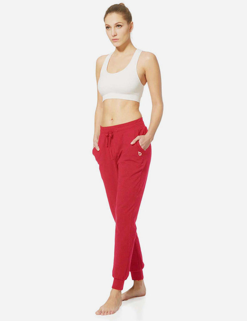 Baleaf Womens Tapered Drawcord Pants red full