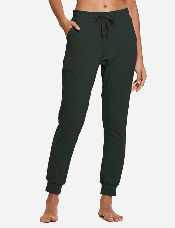 Baleaf Women's Tapered Drawcord Pocketed Sweatpants Army Green Front