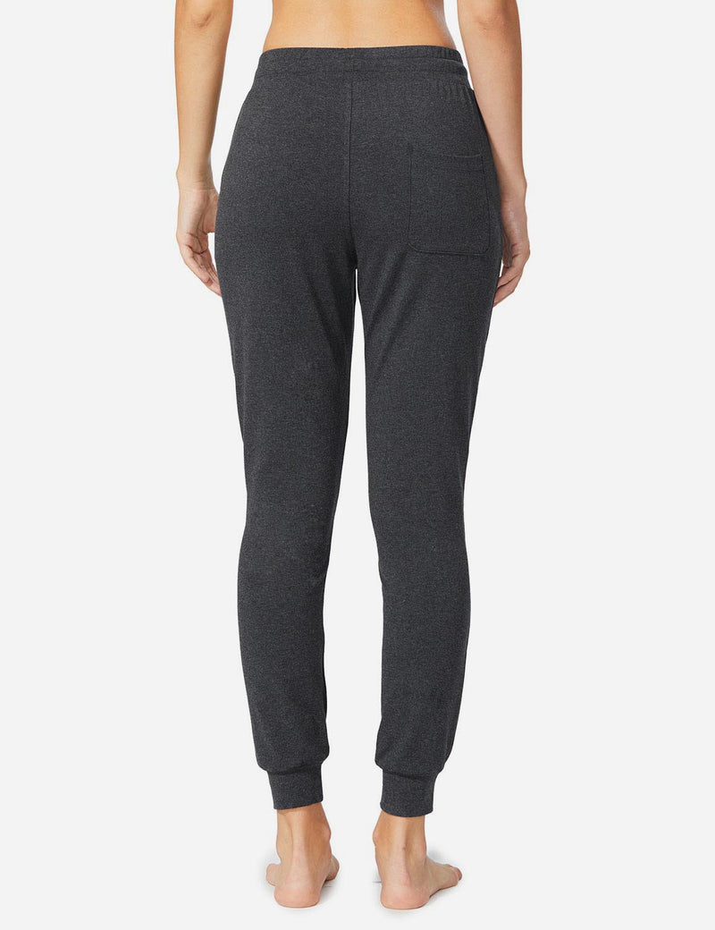 Baleaf Womens Cotton Comfy Pocketed & Tapered Weekend Joggers charcoal details