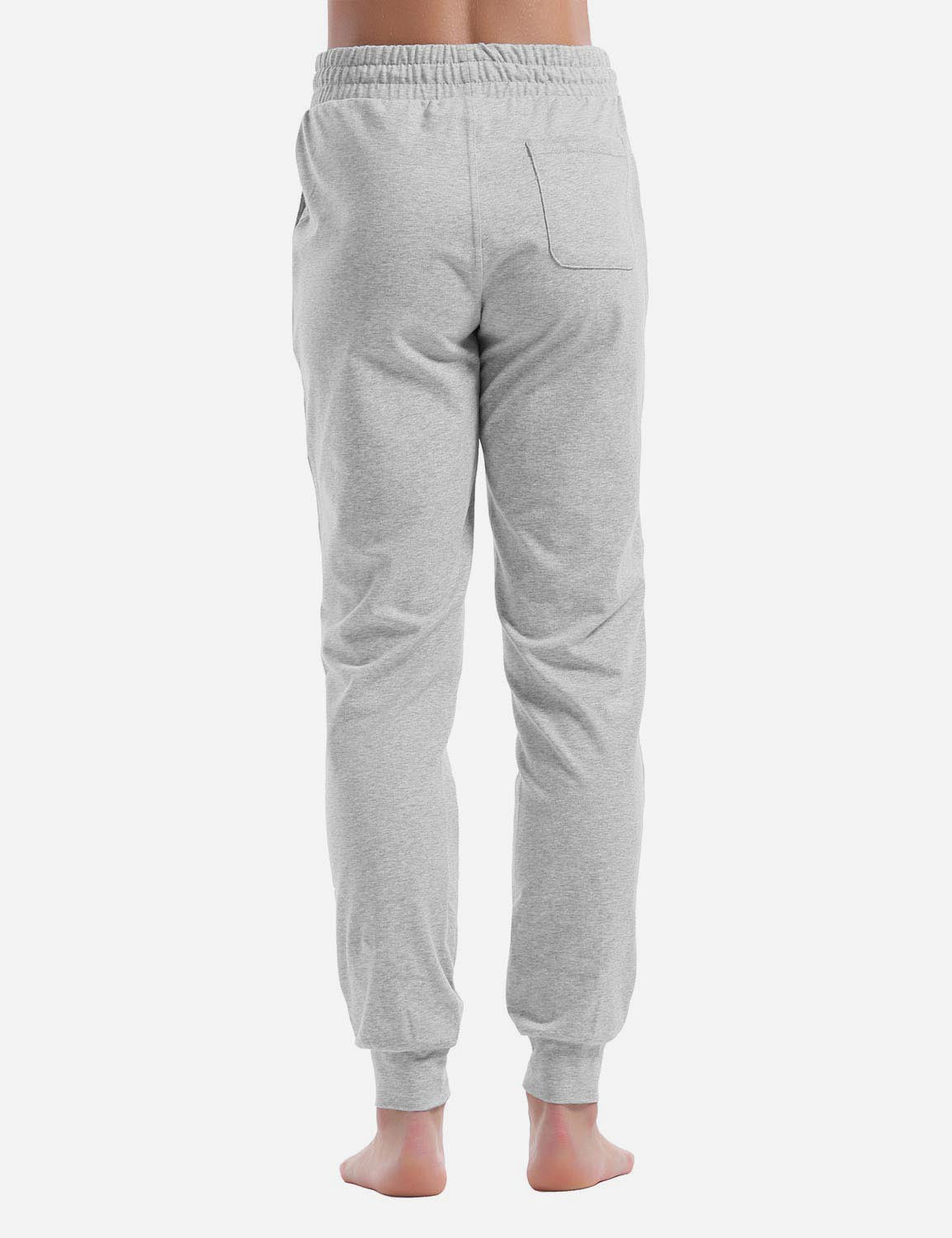 Baleaf Womens Cotton Comfy Pocketed & Tapered Weekend Joggers light gray details