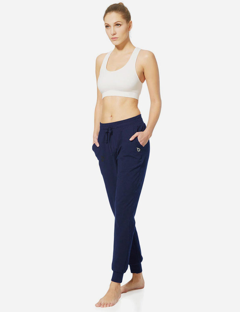 Baleaf Womens Tapered Drawcord Pants navy blue full