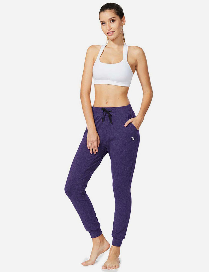 Baleaf Womens Tapered Drawcord Pants purple heather full