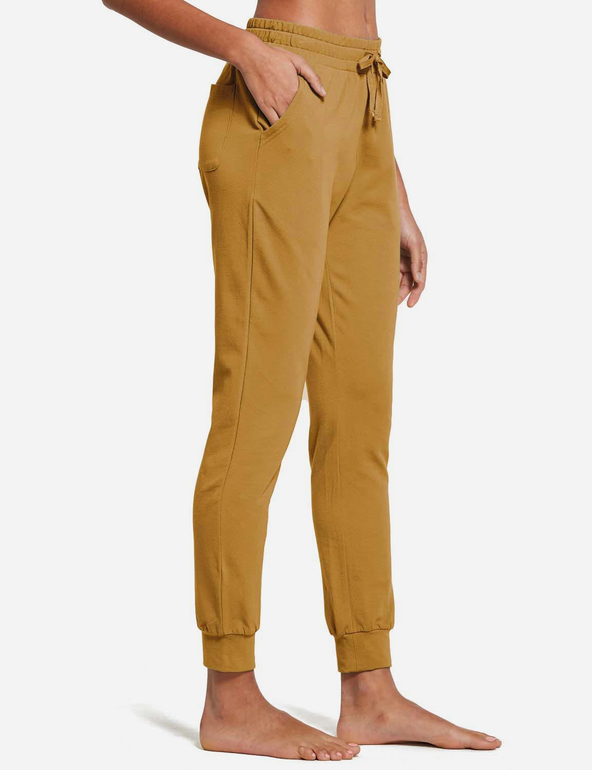 Baleaf Womens Tapered Drawcord Pants SaddleBrown side