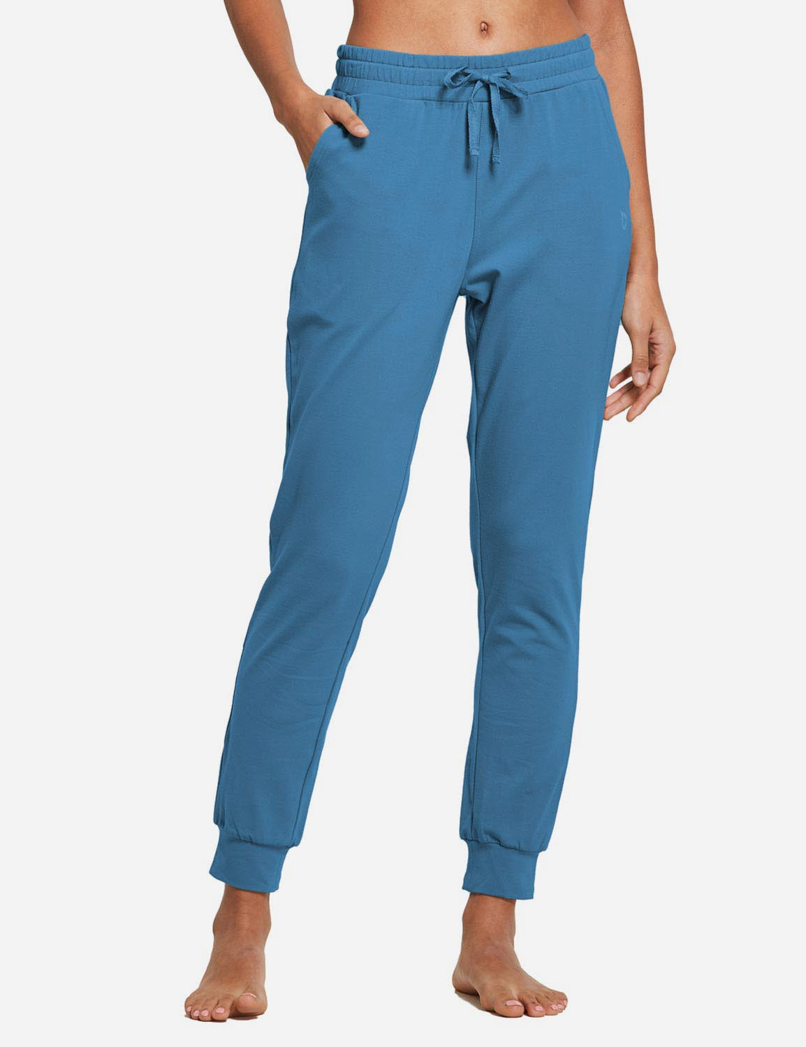 Baleaf Womens Tapered Drawcord Pants Copen Blue front