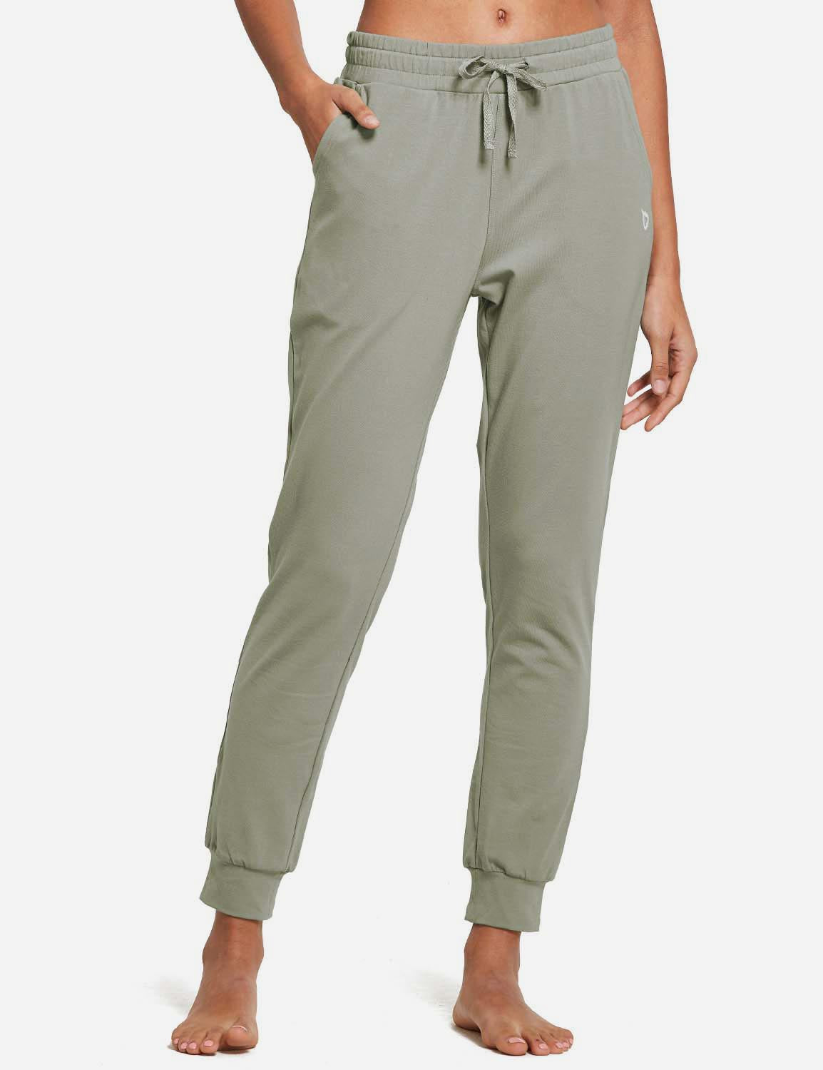 Baleaf Womens Cotton Comfy Pocketed & Tapered Weekend Joggers Spray Green Front