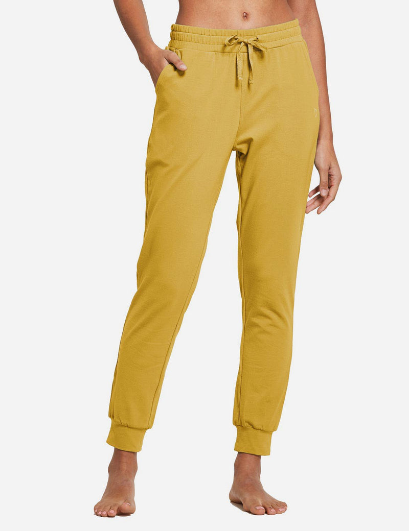 Baleaf Womens Tapered Drawcord Pants Misted Yellow front