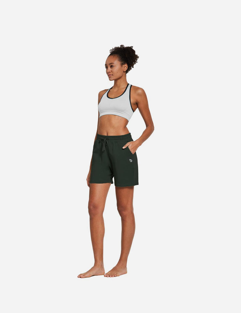 Baleaf Womens 5'' Activewear Cotton Pocketed Jogger & Weekend Shorts Army Green full