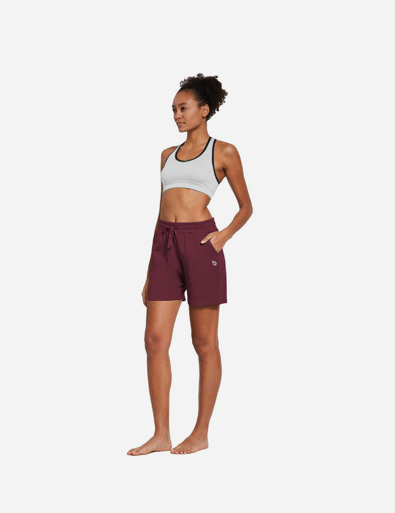 Baleaf Womens 5'' Activewear Cotton Pocketed Jogger & Weekend Shorts Burgendy full