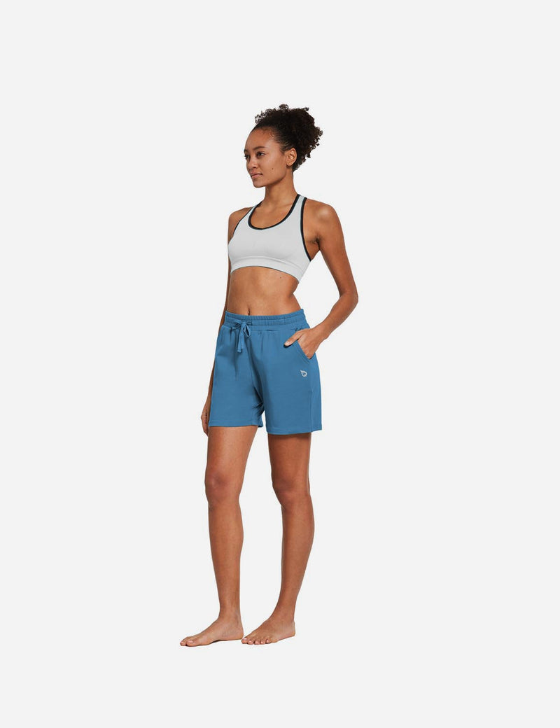 Baleaf Womens 5'' Activewear Cotton Pocketed Jogger & Weekend Shorts Copen Blue full